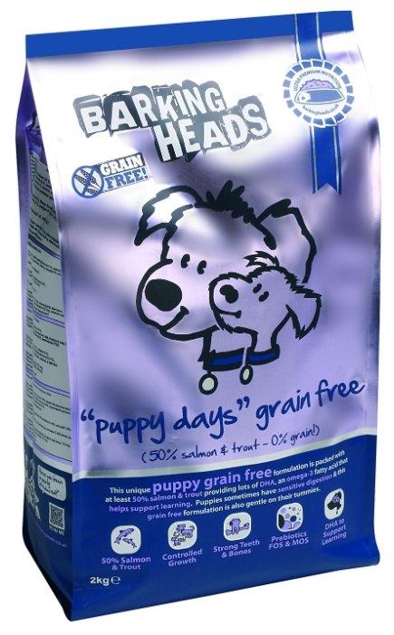Корм для собак Barking Heads (2 кг) Беззерновой корм для щенков с лососем и бататом Щенячьи деньки