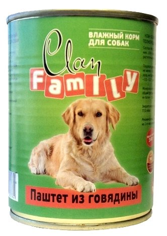 Корм для собак CLAN (0.34 кг) 12 шт. Family Паштет из говядины для собак