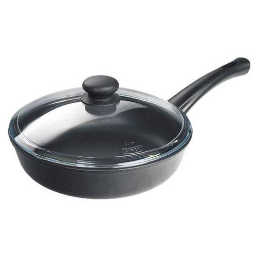 Сковорода НЕВА МЕТАЛЛ ПОСУДА Литая 7722, 22 см, с крышкой, черный