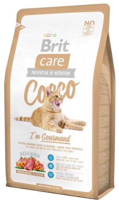 Корм для кошек Brit Care Cocco беззерновой, при чувствительном пищеварении, с лососем, с уткой — купить по выгодной цене на Яндекс.Маркете