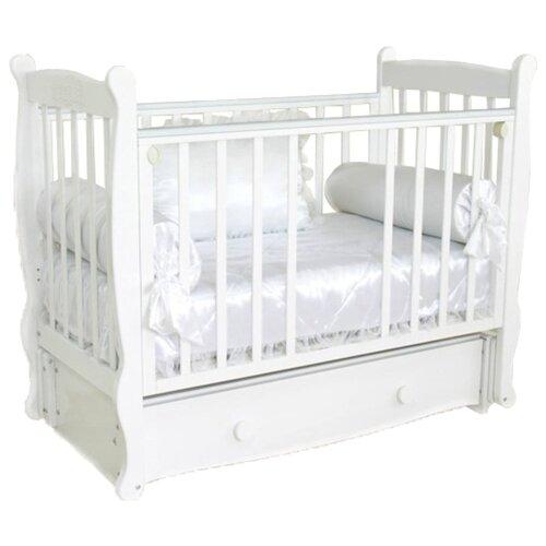 Купить Кроватка Красная Звезда Елисей С717 (классическая), продольный маятник белый, Кроватки