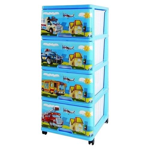 цена на Бельевой комод Dunya Plastik Пластиковый с рисунком 4 ящика спецмашины голубой