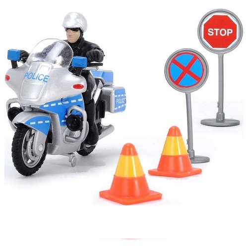 Мотоцикл Dickie Toys полицейский с дорожными знаками (3342001) 10 см серый/синийМашинки и техника<br>