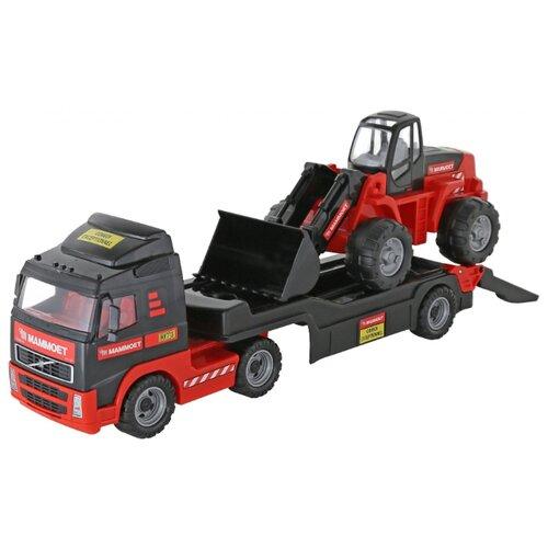 Набор машин Полесье Трейлер и трактор-погрузчик Mammoet Volvo 204-03 (57105) черный/красный полесье трактор крепыш