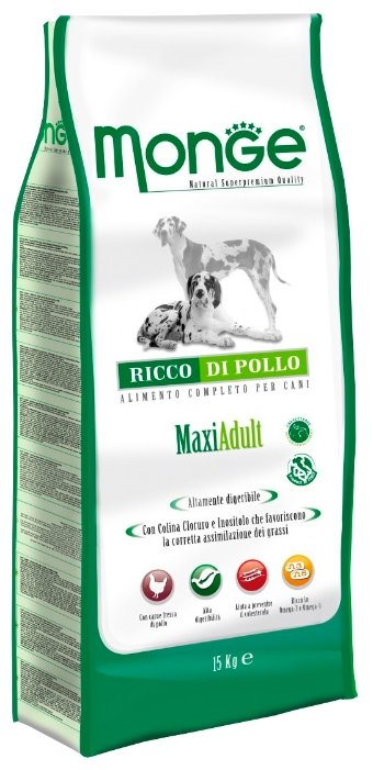 Monge (12 кг) Dog Maxi Adult – Курица с рисом. Для взрослых собак крупных пород