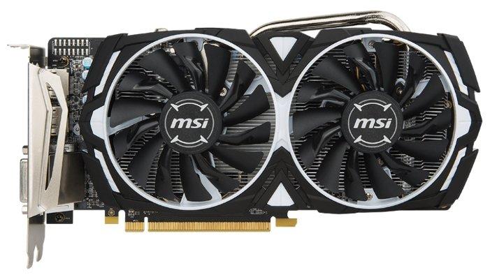 MSI Видеокарта MSI Radeon RX 570 1268MHz PCI-E 3.0 8192MB 7000MHz 256 bit DVI HDMI HDCP Armor OC