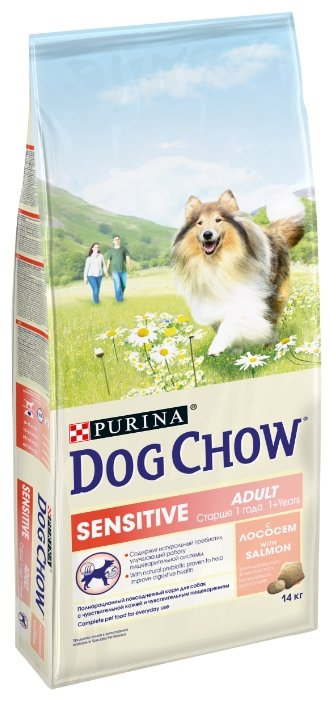 DOG CHOW (14 кг) Sensitive с лососем для собак с чувствительным пищеварением