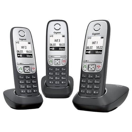 Фото - Радиотелефон Gigaset A415 Trio черный/серебристый радиотелефон dect gigaset a415 черный