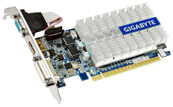GIGABYTE GeForce 210 520Mhz PCI-E 2.0 1024Mb 1200Mhz 64 bit DVI HDMI HDCP