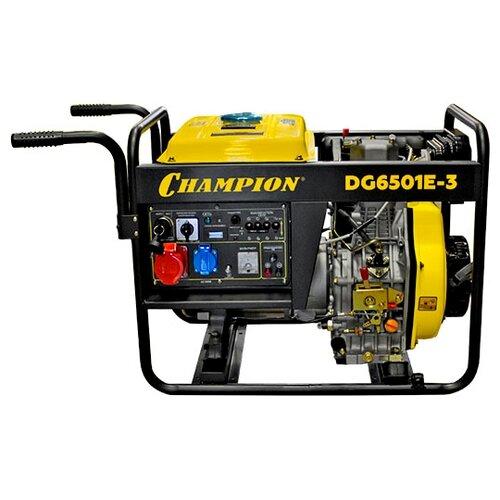 Дизельный генератор CHAMPION DG6501E-3 (4960 Вт) дизельный генератор hyundai dhy 8000se