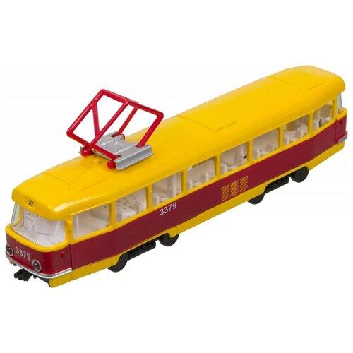 цена на Трамвай ТЕХНОПАРК CT12-428-2 23 см желтый/красный