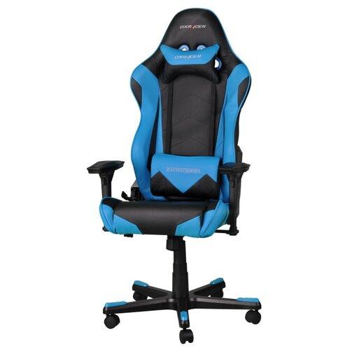 Компьютерное кресло DXRacer Racing OH/RE0 игровое, обивка: искусственная кожа, цвет: черный/синий кресло игровое dxracer dxracer drifting oh dj133 n