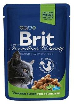 Корм для стерилизованных кошек Brit Premium беззерновой, с курицей 100 г (кусочки в соусе)