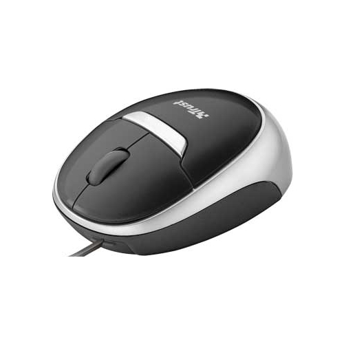 Мышь Trust Retractable Optical Mini Mouse MI-2850Sp Black-Silver USB