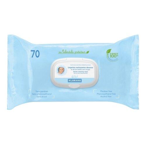 Влажные салфетки Klorane С экстрактом календулы, пластиковая крышка, 70 шт.