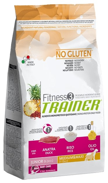 Корм для собак TRAINER Fitness3 No Gluten Junior Medium&Maxi Duck and rice dry (3 кг)