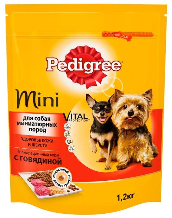 Корм для собак Pedigree Для взрослых собак миниатюрных пород полнорационный корм с говядиной