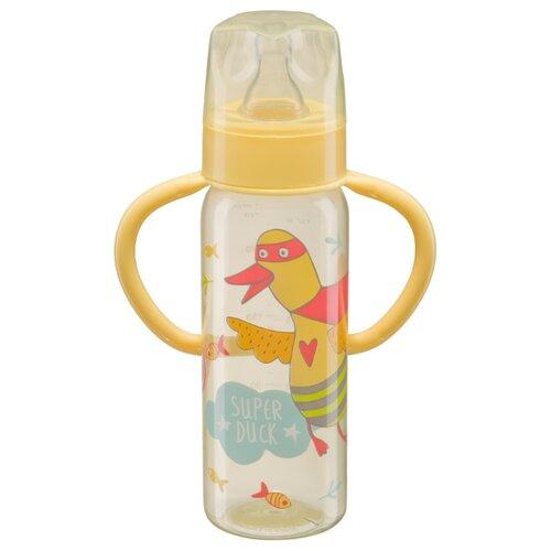 Купить Happy Baby Бутылочка с узким горлом, с ручками 250 мл (10007) с рождения, yellow, Бутылочки и ниблеры