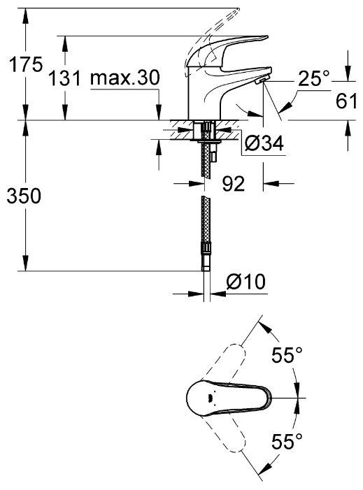 Смеситель для раковины (умывальника) Grohe Euroeco 32734000 однорычажный хром