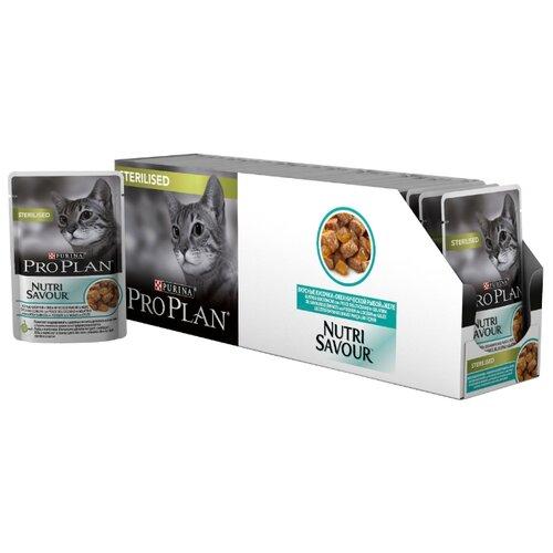 Корм для стерилизованных кошек Pro Plan Nutrisavour с океанической рыбой 24шт. х 85 г (кусочки в желе)