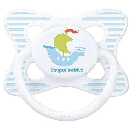 Купить Пустышка силиконовая анатомическая Canpol Babies Summertime 18+ (1 шт) голубой/кораблик, Пустышки и аксессуары