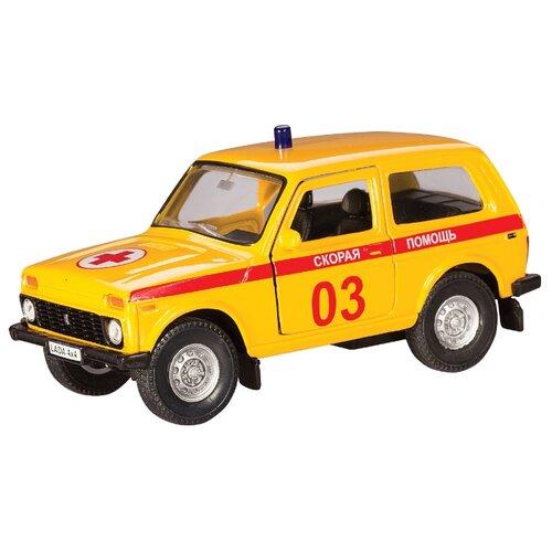 цена на Легковой автомобиль Autotime (Autogrand) ВАЗ-2121 Нива скорая помощь (37027) 1:36 11 см желтый/красный