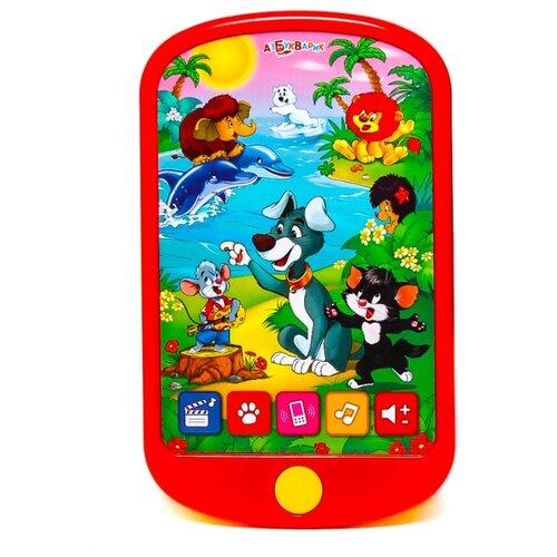 Интерактивная развивающая игрушка Азбукварик Смартфончик Мои мультяшки красный