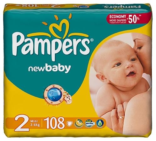 Купить Pampers подгузники New Baby 2 (3-6 кг) 108 шт. по выгодной ... 433be6d37f0