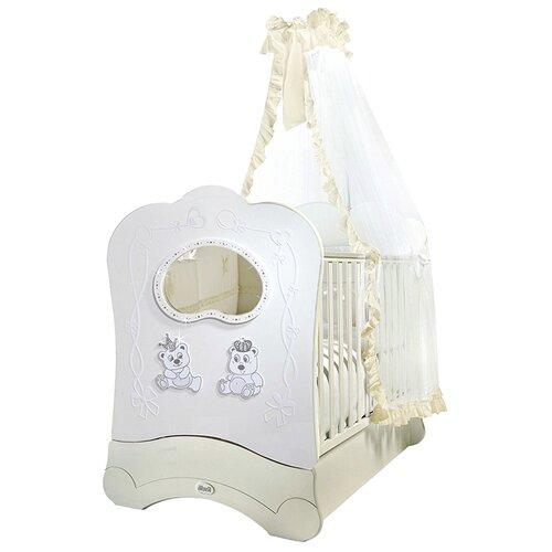 Купить Кроватка Feretti Majesty Brillante FMS (классическая), продольный маятник белый, Кроватки