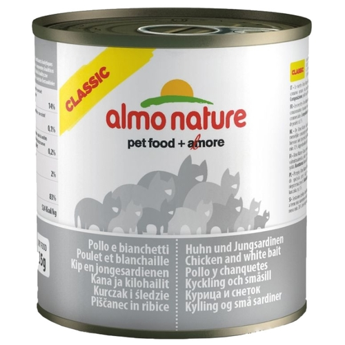 Корм для кошек Almo Nature Classic Adult Cat Chicken and White Bait (0.28 кг) 6 шт.