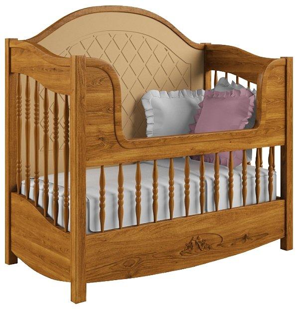 Кроватка Nom du Bebe Людовик (стандартная, + низкий бортик, дуб) (классическая)