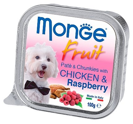 Корм для собак Monge Fruit курица с малиной 32шт. х 100г
