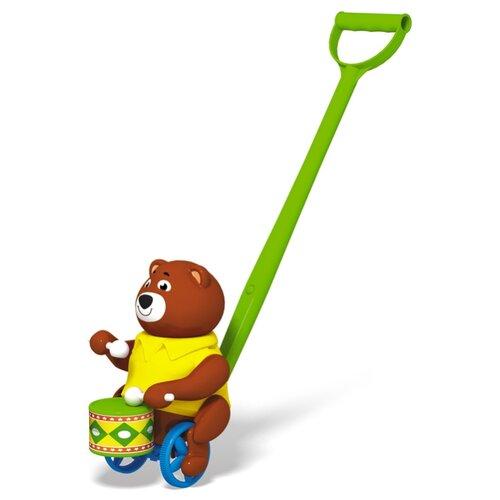 Каталка-игрушка Стеллар Барабанщик (01377) со звуковыми эффектами коричневый/зеленый/желтый