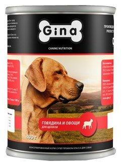 Корм для собак Gina Говядина и овощи. Консервы для щенков (0.4 кг) 1 шт.