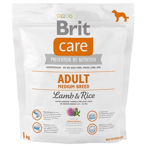 Корм для собак Brit (1 кг) Care Adult Medium Breed Lamb & RiceКорма для собак<br>