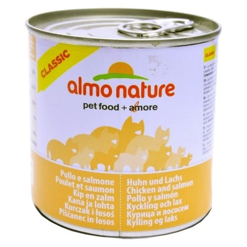 Фото - Корм для кошек Almo Nature Classic с курицей, с лососем 280 г консервы для кошек almo nature нежный мусс с уткой 85 г