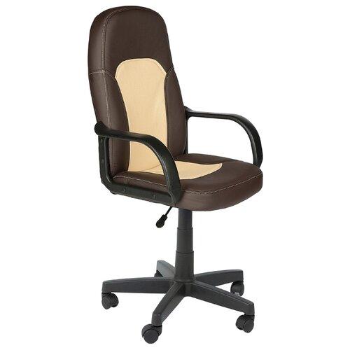 Компьютерное кресло TetChair Парма офисное, обивка: искусственная кожа, цвет: коричневый/бежевый компьютерное кресло tetchair jazz офисное обивка искусственная кожа цвет бежевый коричневый 4230