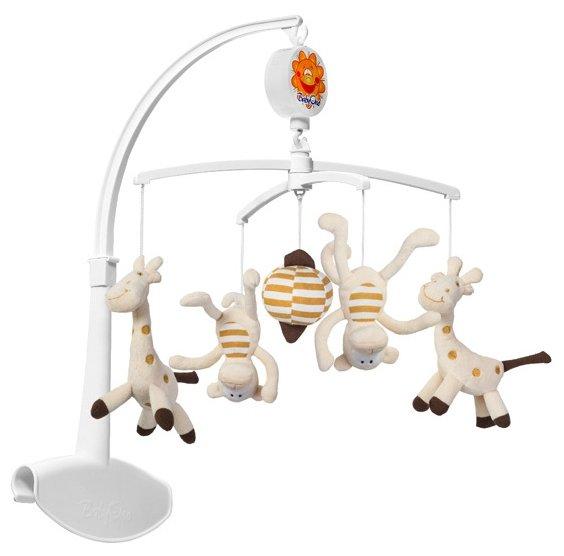 Механический мобиль BabyOno Жирафы и мартышки (1367) белый/коричневый