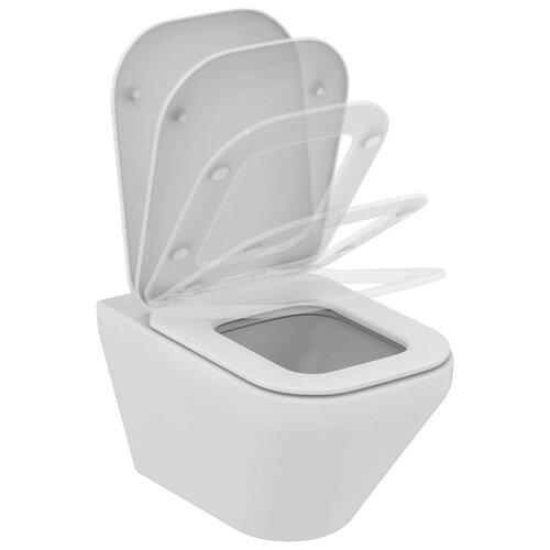 Чаша унитаза безободковая подвесная Ideal STANDARD Tonic II K316701 (с сиденьем, микролифт) с горизонтальным выпуском чаша унитаза подвесная gustavsberg hygienic flush wwc 5g84hr01 с сиденьем микролифт с горизонтальным выпуском