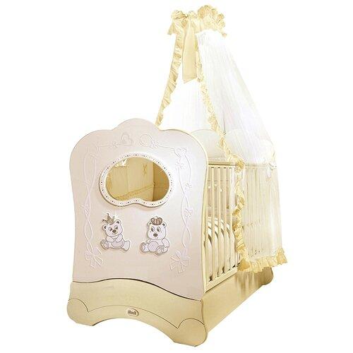 Купить Кроватка Feretti Majesty Brillante FMS (классическая), продольный маятник слоновая кость, Кроватки