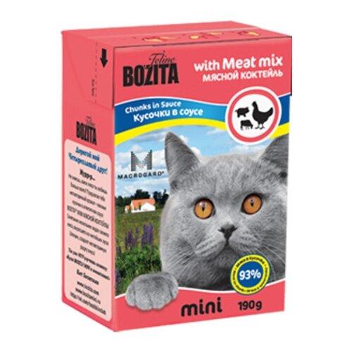 Корм для кошек Bozita MINI с курицей, с говядиной, с свининой 190 г (кусочки в соусе)Корма для кошек<br>