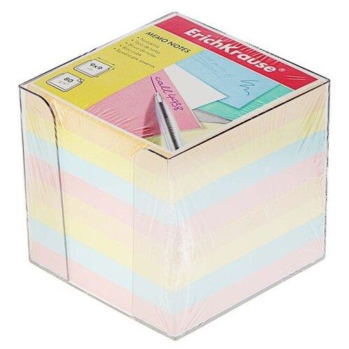 Купить ErichKrause блок-кубик в подставке 90x90x90 мм (999721188-4458/999721187-5142) голубой/желтый/персиковый/розовый, Бумага для заметок