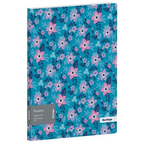 Фото - Berlingo Папка с 20 вкладышами Flowers А4, 17 мм, 600 мкм, пластик синий berlingo папка с 20 вкладышами и внутренним карманом radiance а4 17 мм 600 мкм пластик желтый розовый