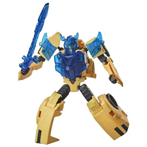Трансформер Hasbro Transformers Бамблби. Battle Call Trooper Class (Кибервселенная) E8373 желтый/синий transformers игрушкатрансформер кибервселенная 10 см e1883