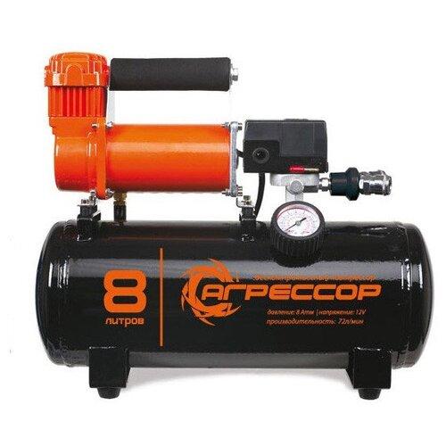 цена на Автомобильный компрессор Агрессор AGR-8LT черный/оранжевый