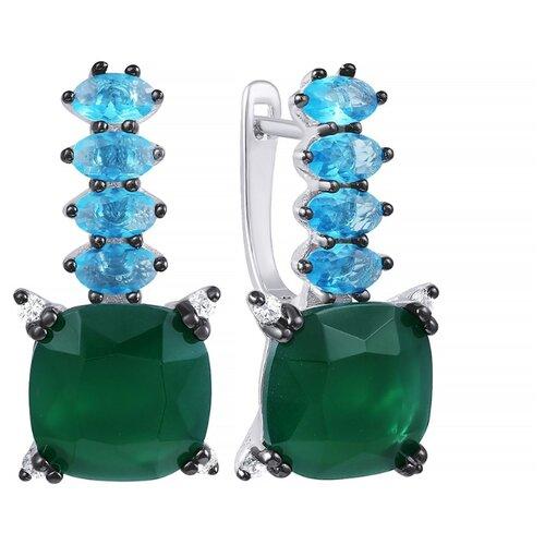 JV Серебряные серьги с фианитом, ювелирным стеклом AES34966W-SR-US-001-WG