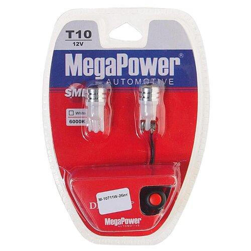 Фото - Лампа автомобильная светодиодная MegaPower 10711W-2блт 12V W5W (T10) 10W 2 шт. 2pcs t10 w5w 80w cree xqb chip led hid