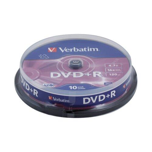 Фото - Диски DVD+R (плюс) VERBATIM 4,7 Gb 16x, КОМПЛЕКТ 10 шт., Cake Box, 43498 диск dvd r 4 7gb verbatim 16x cake box 10шт