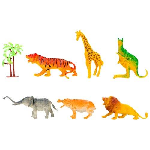 Набор фигур диких животных 6 шт забор 3шт, пальма 1шт