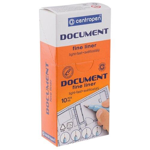 Centropen Набор капиллярных ручек Document, 0.1 мм, 10 шт, черный цвет чернил, Ручки  - купить со скидкой